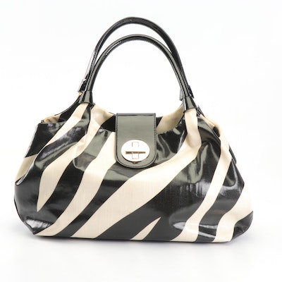 Kate Spade New York Stevie Bexley Zebra Print Coated Canvas Patent Leather Bag