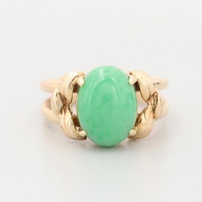 14K Yellow Gold Jadeite Cabochon Ring