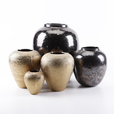 Decorative Gold and Silver Tone Earthenware Vases
