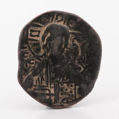 "Ancient Byzantine Class B ""Anonymous"" Follis Coin, ca. 1028-1041 A.D."