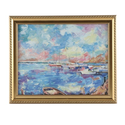 R. M. Mortensen Boats at Dock Oil Painting