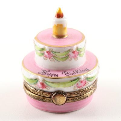 Limoges Hand-Painted Porcelain Birthday Cake Trinket Box