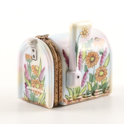 Rochard Limoges Hand-Painted Porcelain Mailbox Trinket Box