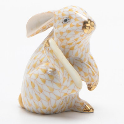"Herend Butterscotch Fishnet ""Scratching Bunny"" Porcelain Figurine, December 1995"