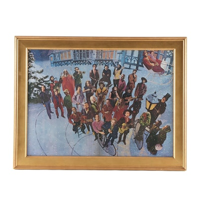 Offset Lithograph of Musicians Caroling