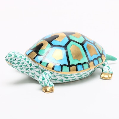 "Herend Green Fishnet with Gold ""Baby Turtle"" Porcelain Figurine"