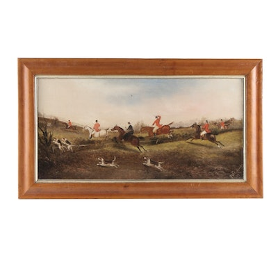 Phillip H. Rideout Late 19th Century Oil Painting of Hunt Scene