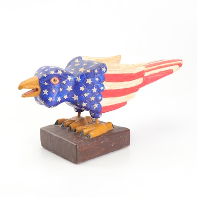 Carved Wooden Bird with American Flag Pattern