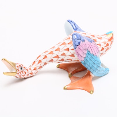 "Herend Rust Fishnet ""Squawking Goose"" Porcelain Figurine"
