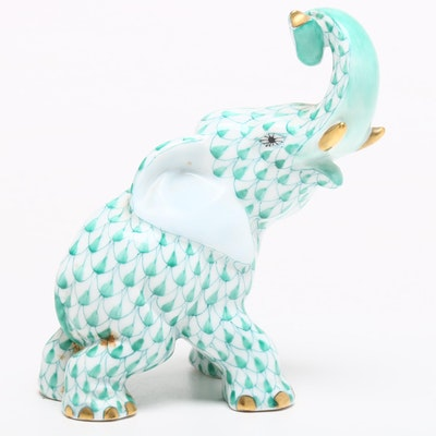 "Herend Green Fishnet with Gold ""Elephant"" Porcelain Figurine"