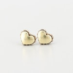 Lagos Caviar Sterling Silver and 18K Yellow Gold Heart Stud Earrings