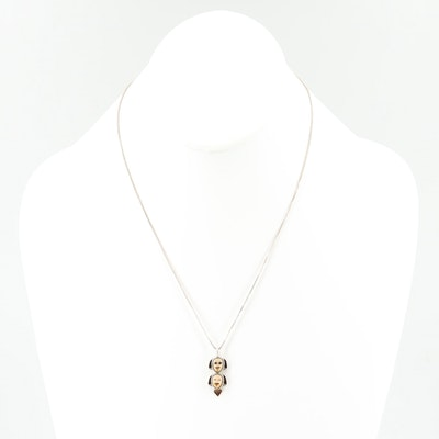 Michelle Tapia Sterling Fossil Ivory Dog Pendant Necklace with 14K Gold Accents