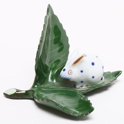 """Herend Porcelain """"Rabbit on Leaf"""" Placecard Holder"""