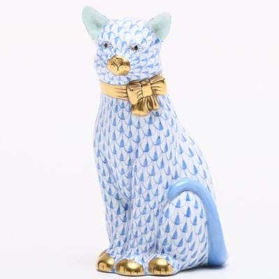Herend Blue Fishnet Cat with Bow Porcelain Figurine