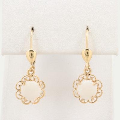 14K Yellow Gold Opal Scroll Work Dangle Earrings