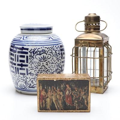 Chinese Ceramic Ginger Jar, Brass Candle Holder Lantern, and Decorative Box