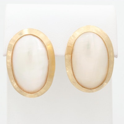 14K Yellow Gold Cultured Mabé Pearl Earrings