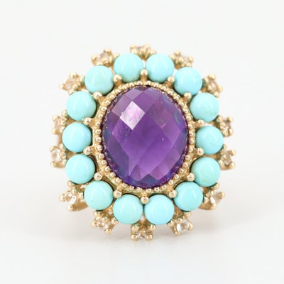 10K Yellow Gold Amethyst, Turquoise and Topaz Ring