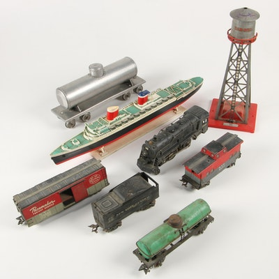Colber Corporation Water Tower with Model Train Cars and Boat, Mid-Century