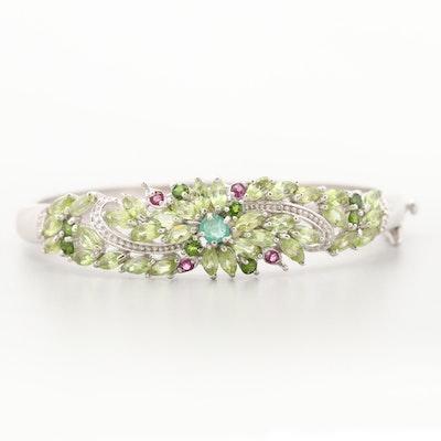 Sterling Silver Emerald, Peridot, Diopside and Garnet Bangle Bracelet