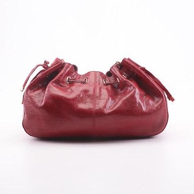 Kate Spade New York Red Snakeskin Embossed Glazed Leather Shoulder Bag