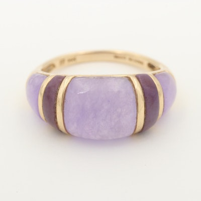 14K Yellow Gold Lavender and Purple Jadeite Ring