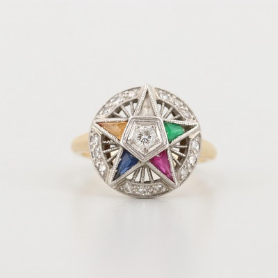 Vintage 14K Yellow Gold Diamond and Gemstone Eastern Star Ring
