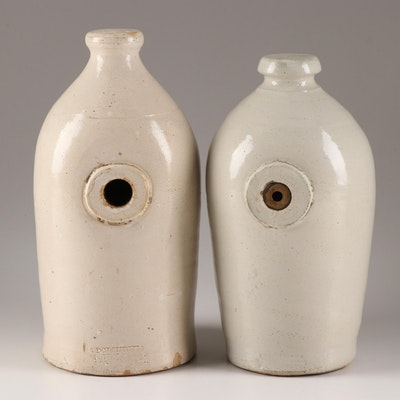 Dorchester Pottery Salt Glazed Stoneware Foot Warmers, 19th Century