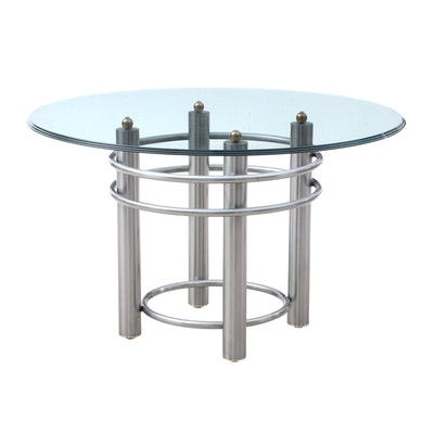 Contemporary Style Brushed Nickel, Brass and Glass Dining Table