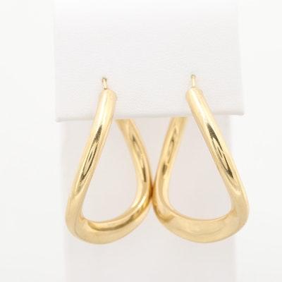 18K Yellow Gold Contour Hoop Earrings