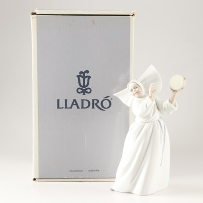 "Lladró Porcelain ""Sister with Tambourine"" Figurine"