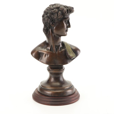 """Reproduction Bronze Bust After the Statue of """"David"""" by Michelangelo"""