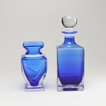 Blue Glass Decanter and Vase