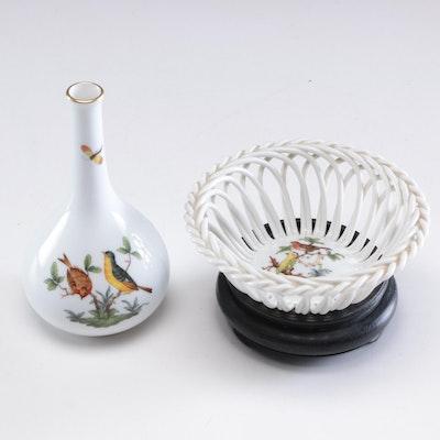 "Herend ""Rothschild Bird"" Porcelain Open Weave Bowl and Bud Vase"