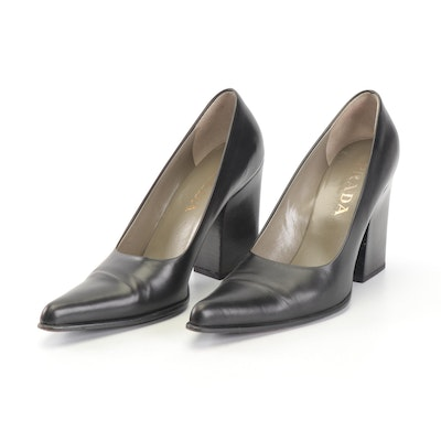 Prada Black Leather Pointed Toe Pumps with Block Heel