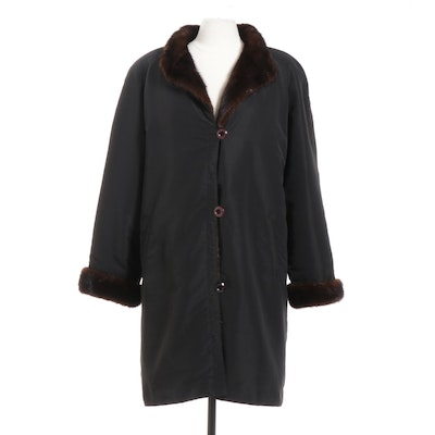 Mahogany Mink Fur-Lined Black Button-Front Coat