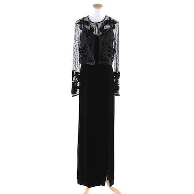 Lillie Rubin Black Velveteen Slip Dress With Mesh and Velvet Cropped Jacket