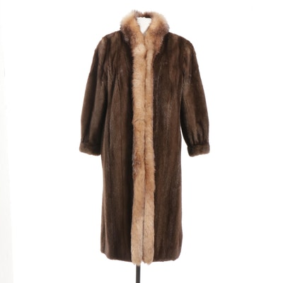 Chestnut Mink Fur Coat with Crystal Fox Fur Tuxedo Collar and Tapered Cuffs