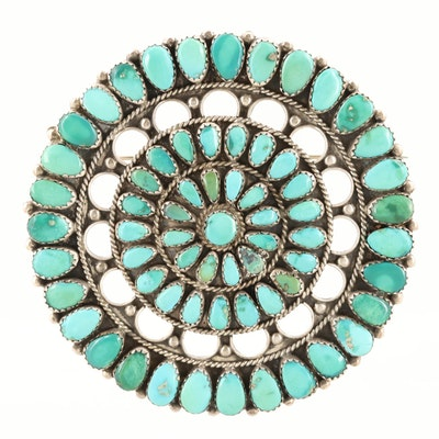 Juliana Williams Navajo Diné Sterling Silver Turquoise Brooch