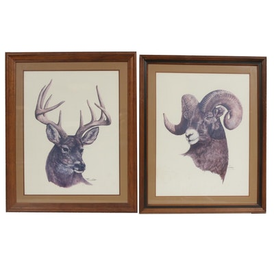 W. D. Gaither Offset Lithographs of a Ram and Deer
