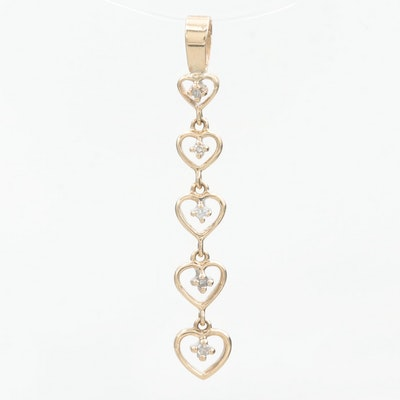 14K Yellow Gold Diamond Graduated Hearts Pendant