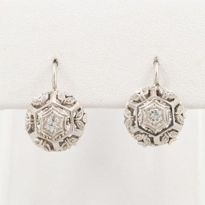 18K White Gold Topaz Drop Earrings