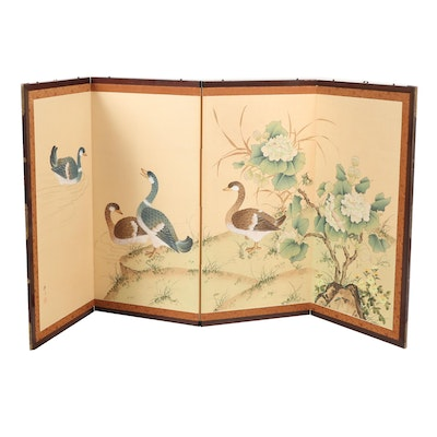 Chinese Gouache Painted Four-Panel Folding Screen