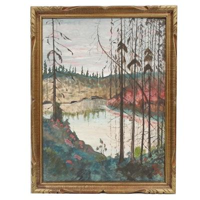 Chardstaff Lake Landscape Oil Painting