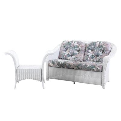 Woven Wicker Indoor / Outdoor Loveseat and Window Bench Seat