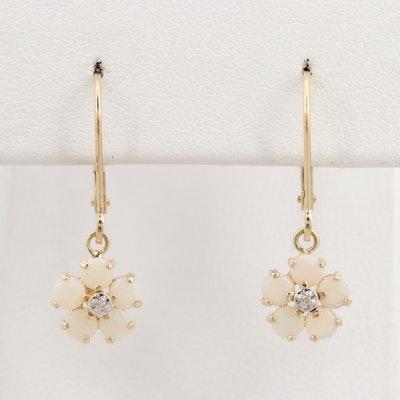 14K Yellow Gold Opal and Diamond Flower Dangle Earrings