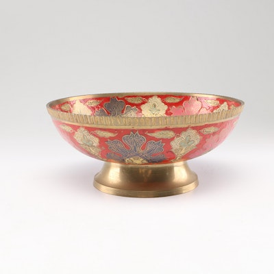 Indian Hand-Painted Brass Decorative Bowl