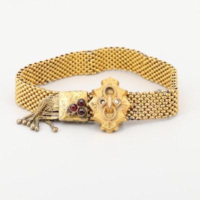 Victorian Gold Tone Garnet, Glass and Cultured Pearl Tassel Adjustable Bracelet