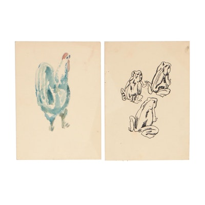 Mid-Late 20th Century Mixed Media Drawings Attributed to Hans Foy