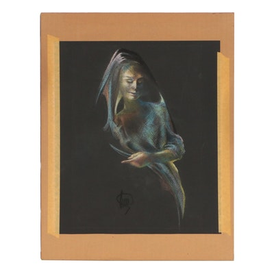 Late 20th Century Figural Pastel Drawing